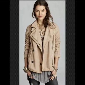 FREE PEOPLE Jacket Canvas Tipped Car Coat Brown